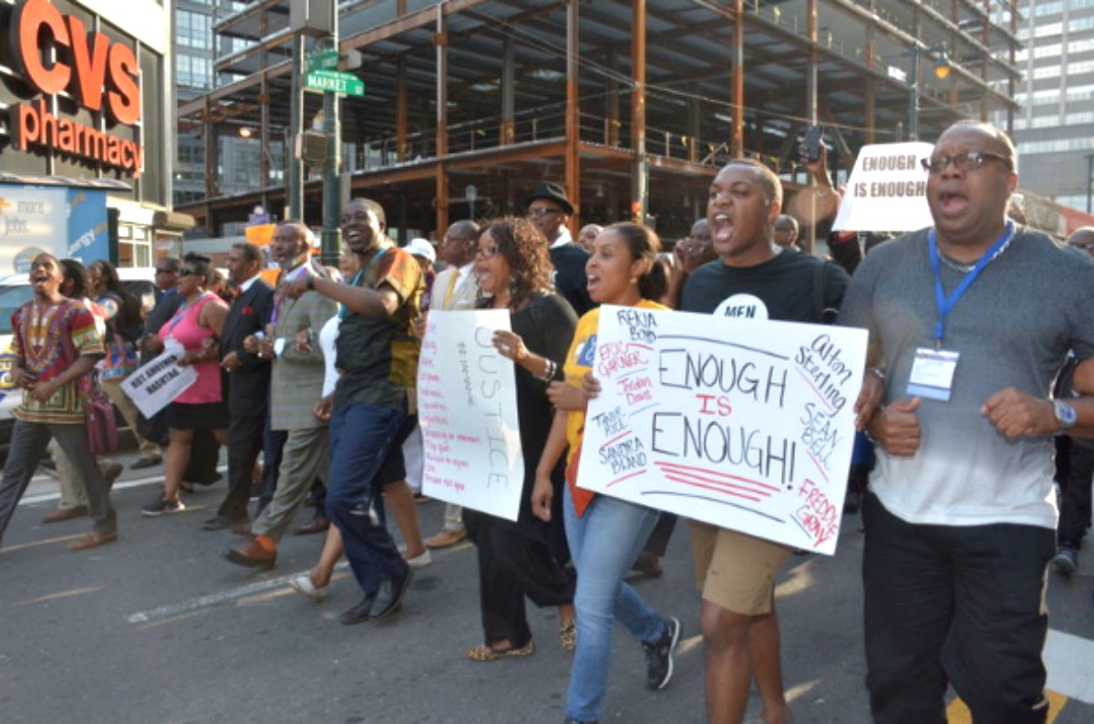 Center City march after outrage over fatal police shootings in Louisiana, Minn.
