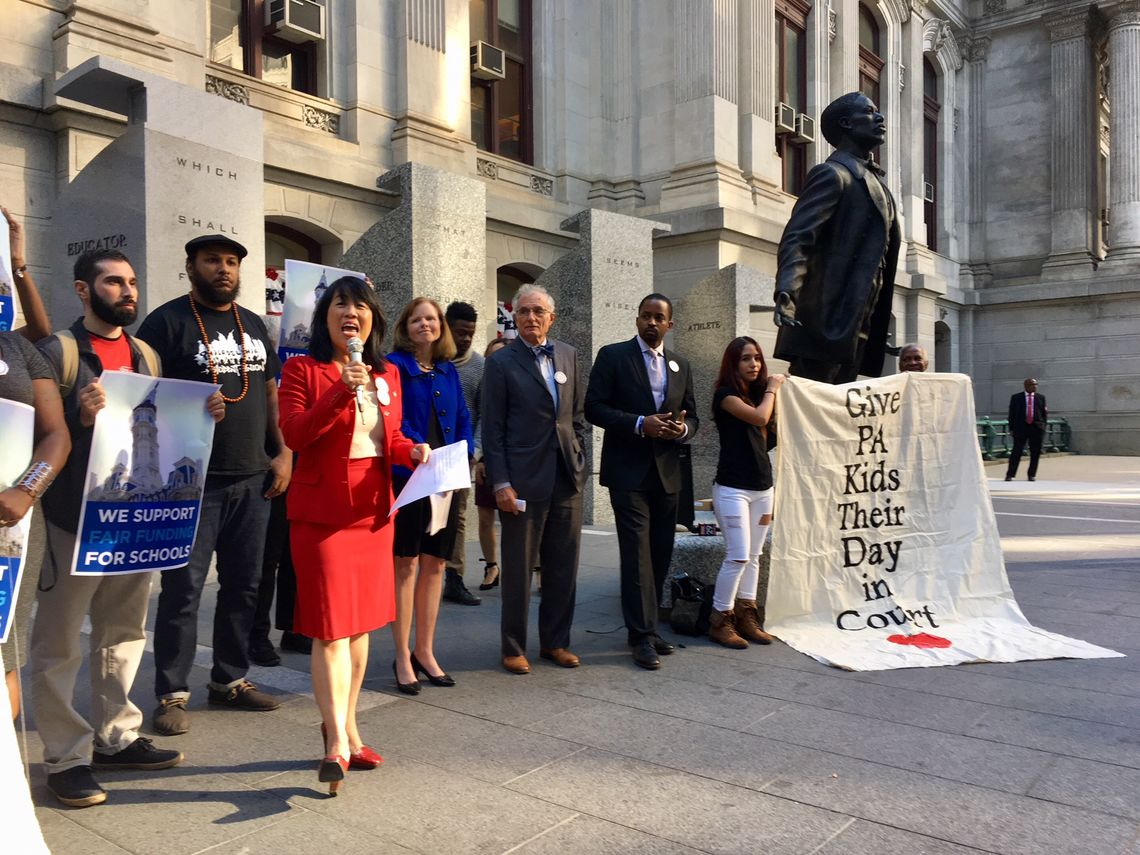 Education advocates celebrate school funding lawsuit ruling with a City Hall rally