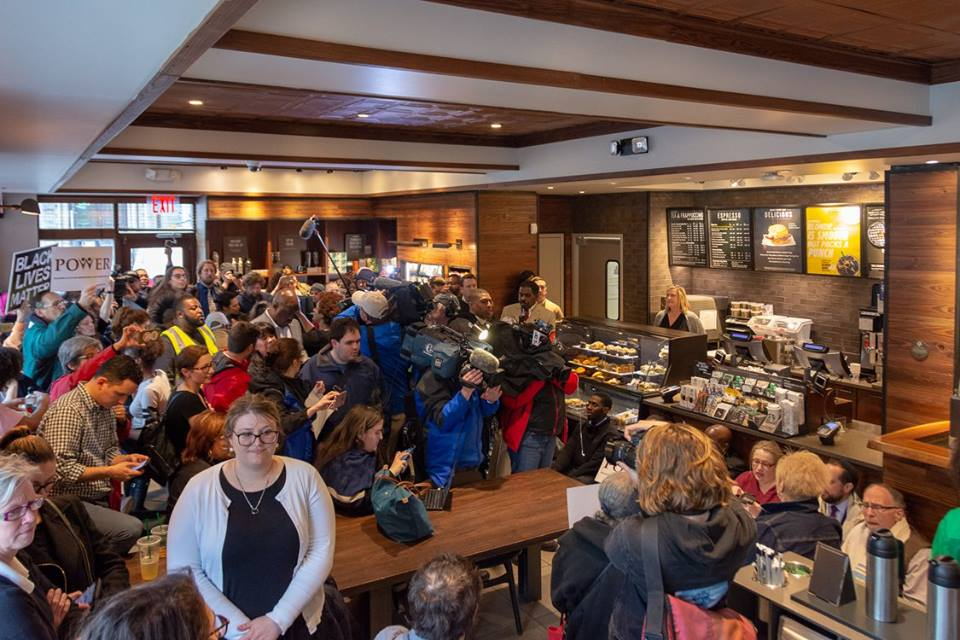 Protesters stage sit-ins at two Starbucks