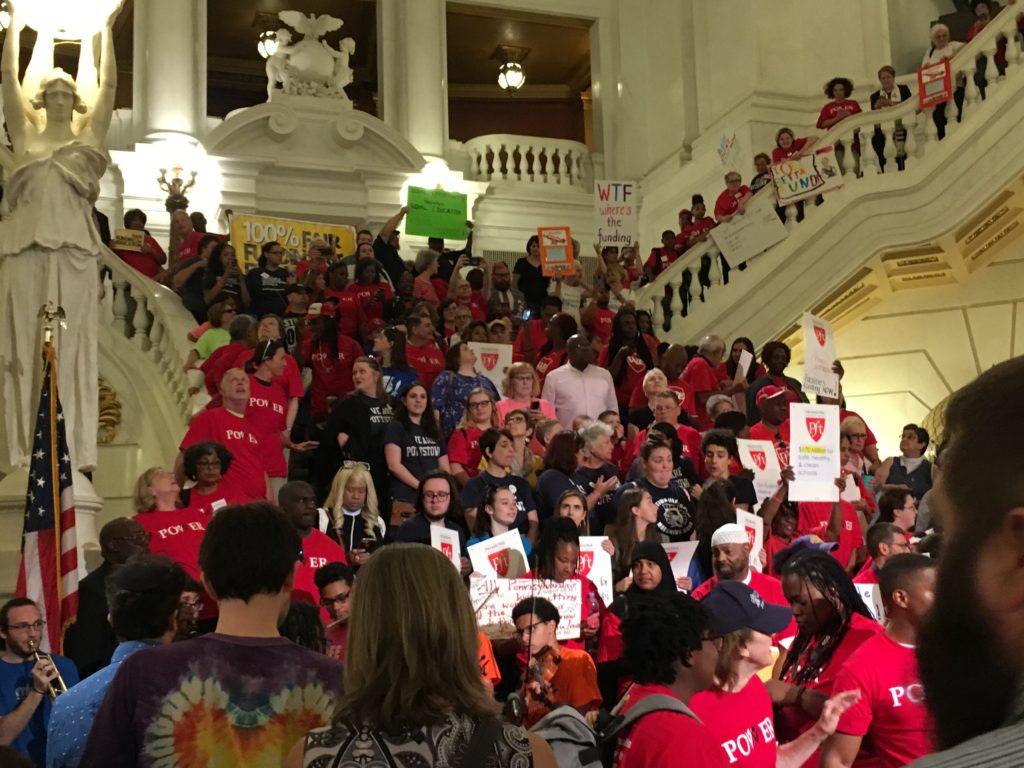 Rally on Rotunda steps in Harrisburg