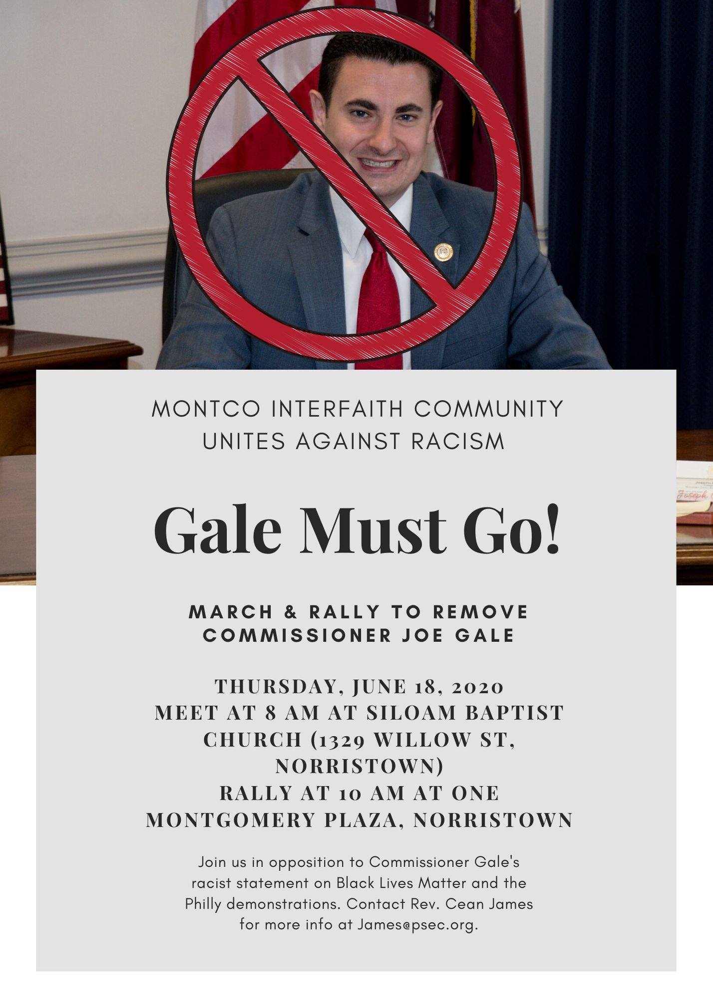 Gale Must Go March and Rally flyer